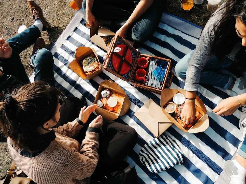 women having a picnic lunch
