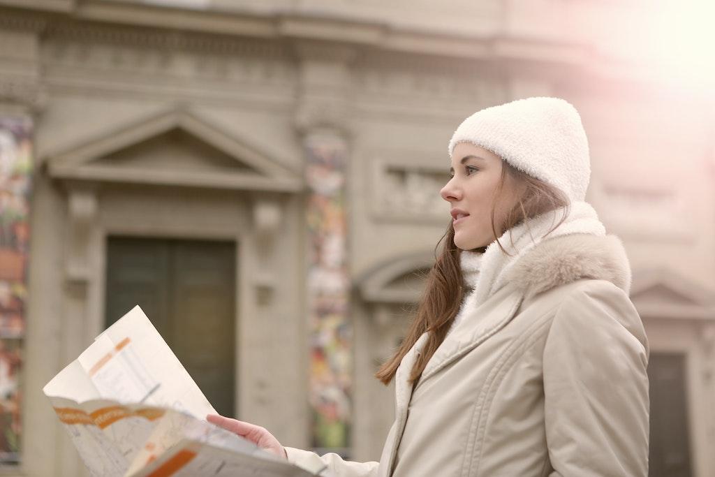 Woman Exploring a City