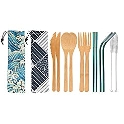 bamboo cutlery and stainless steel straws